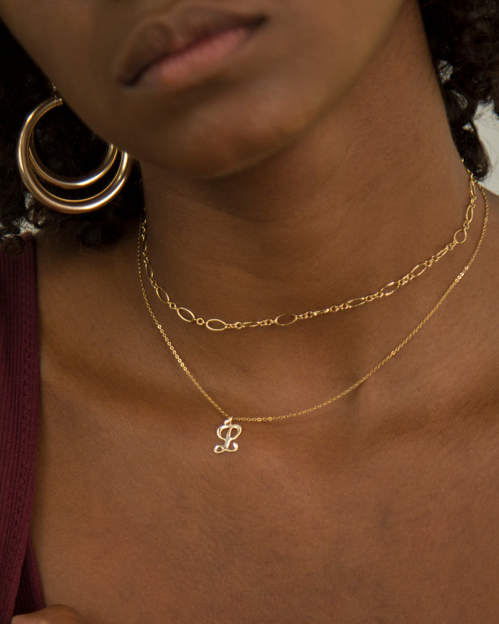 Cursive Initial Charm Necklace