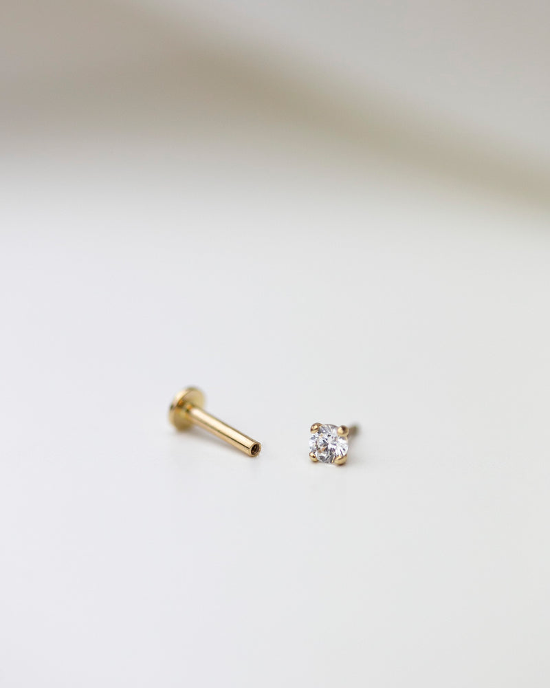 14k Ear Stud for Cartilage with flat back