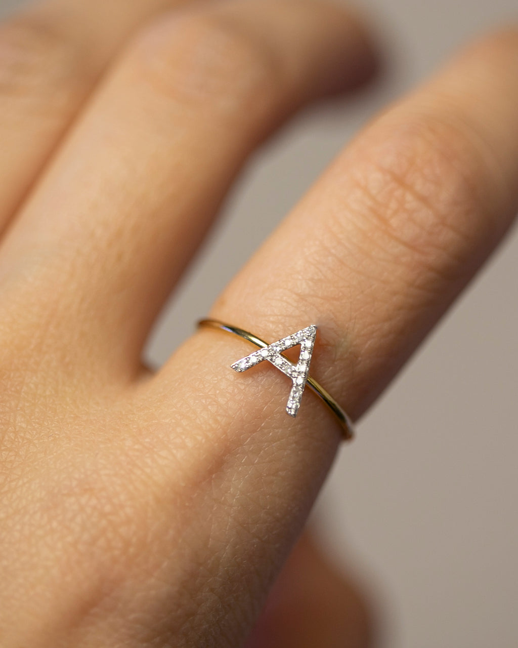 Side Diamond Letter Ring