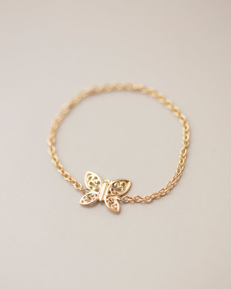 14k Dainty Gold Butterfly Chain ring