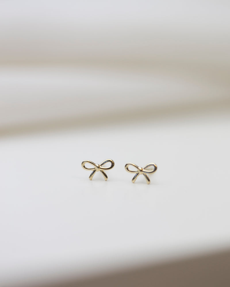 14K Bow Stud Earrings