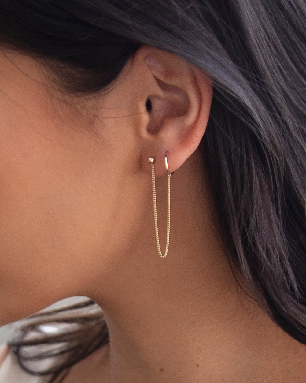 14k Gold Hoop Chained Earring