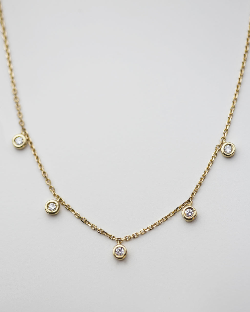 5 Diamond Bezel Charm Necklace
