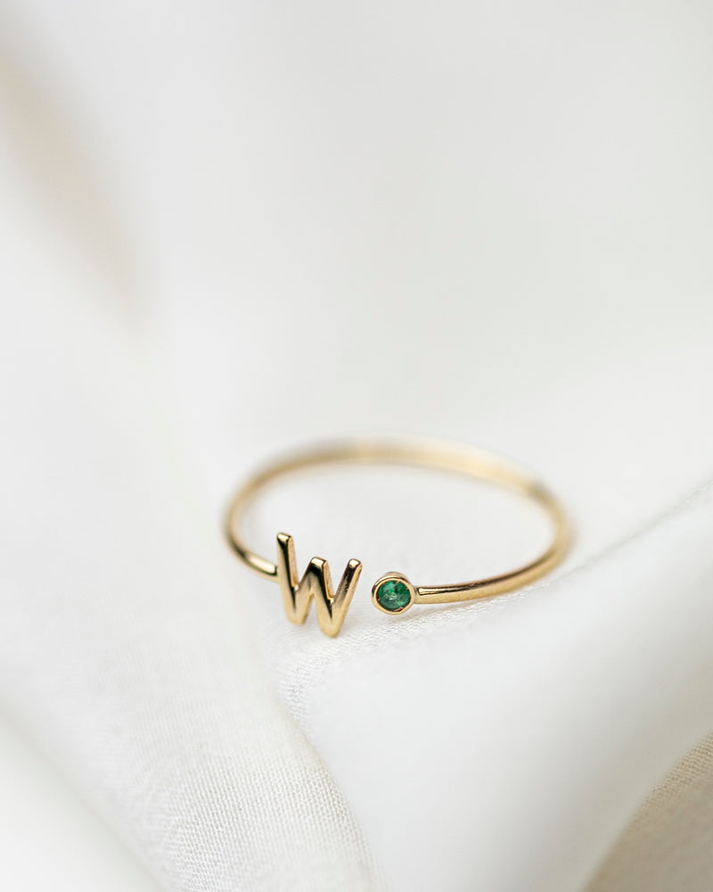 14k Gold Initial Ring with Birthstone