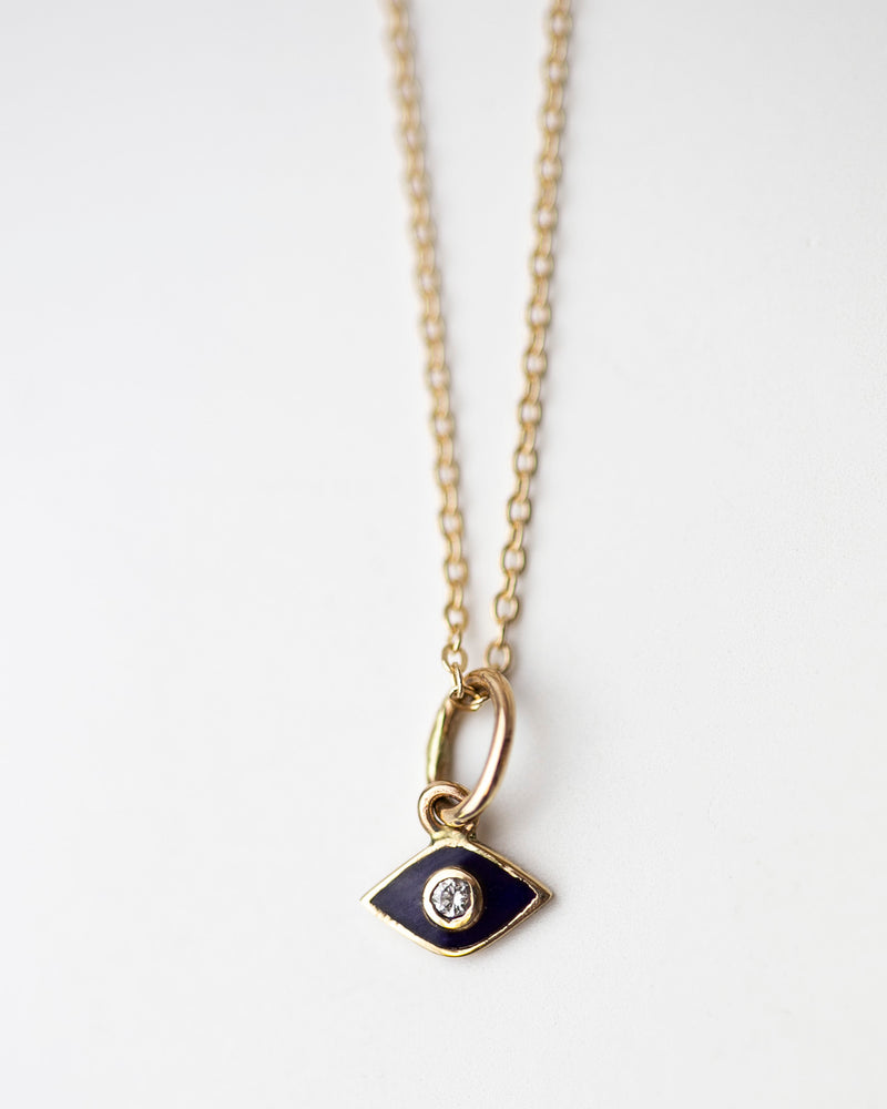 14k Mini Evil Eye Necklace