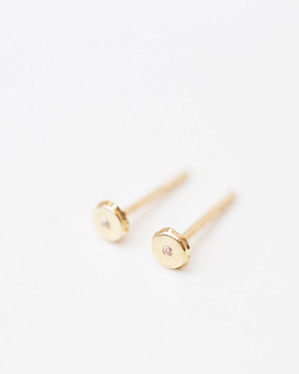 14k Round Stud Earrings with CZ diamond accent