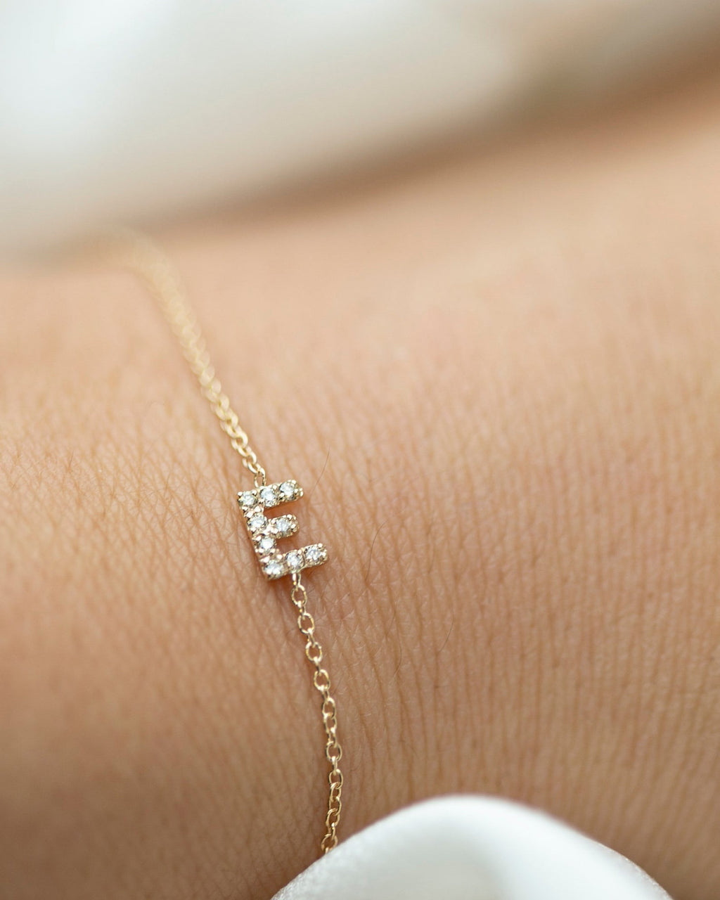 14k Gold Mini Diamond Initial Bracelet