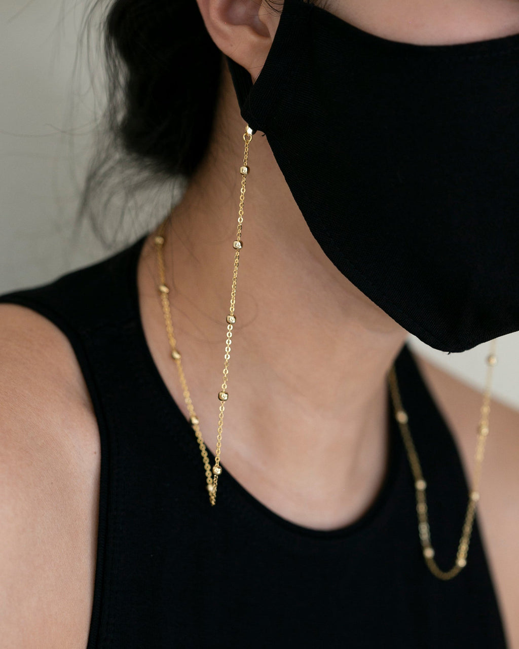 Gold Beaded Chain for Mask