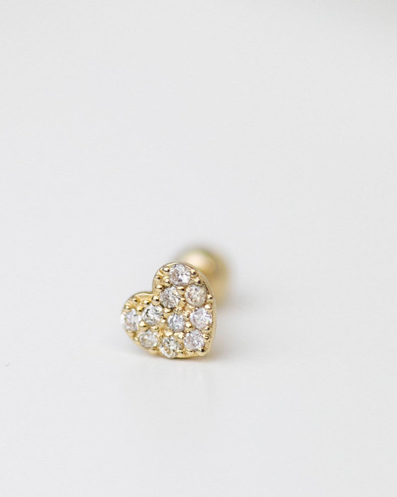 Mini Diamond heart Barbell Ear Stud