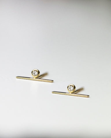 Rough Cut Diamond Solitaire Stud Earrings