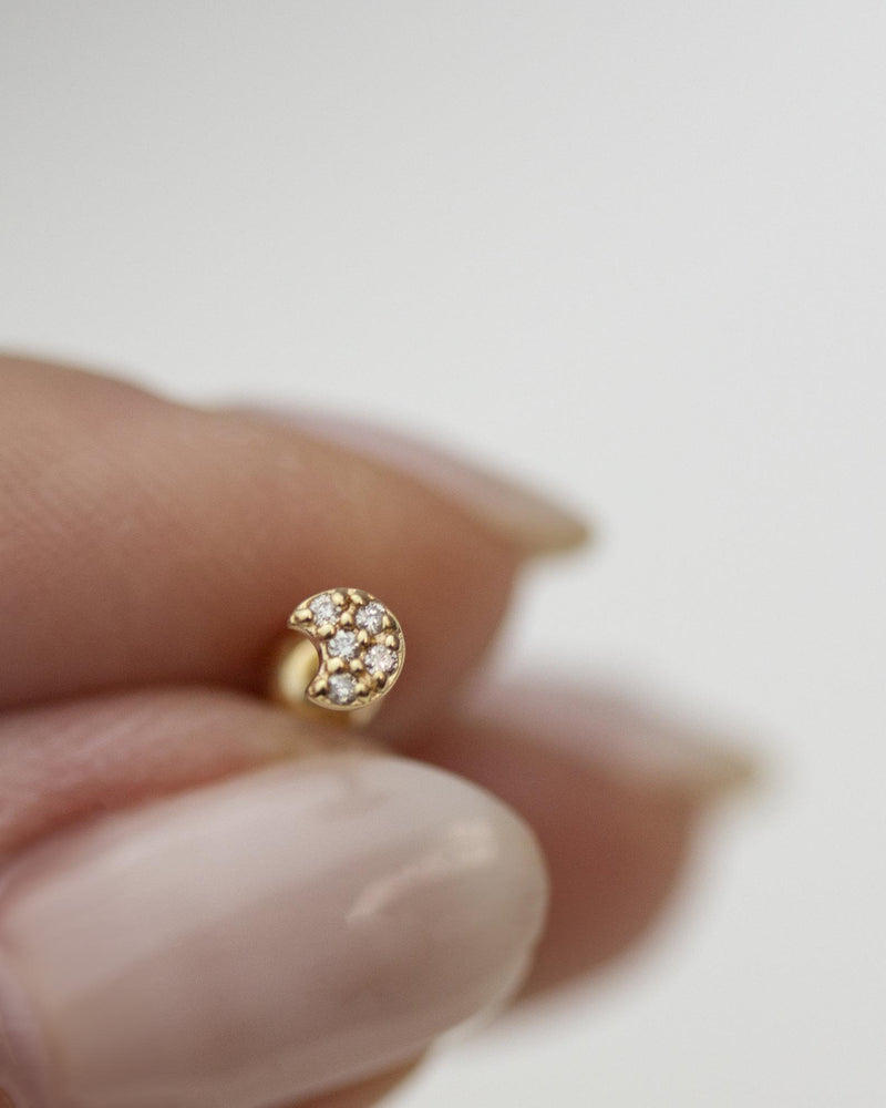 14k Mini diamond crescent moon stud