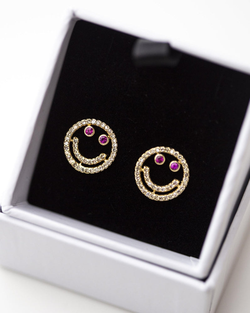 14k Diamond and Ruby Smiley face Stud Earrings