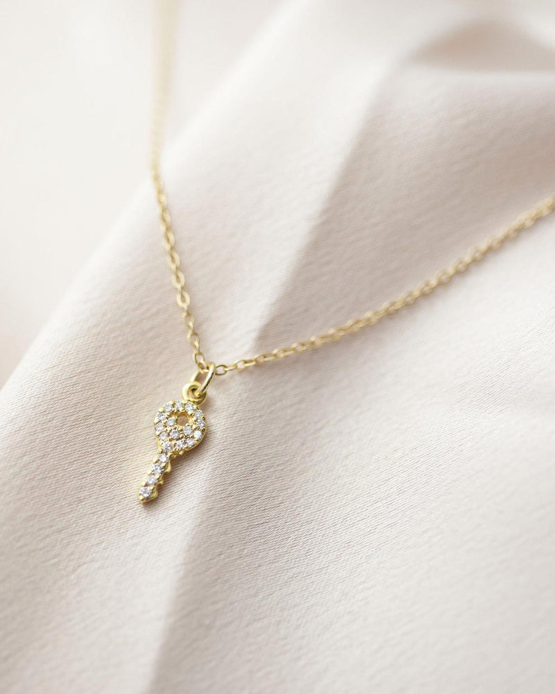 Mini Diamond Pave Key Charm Necklace