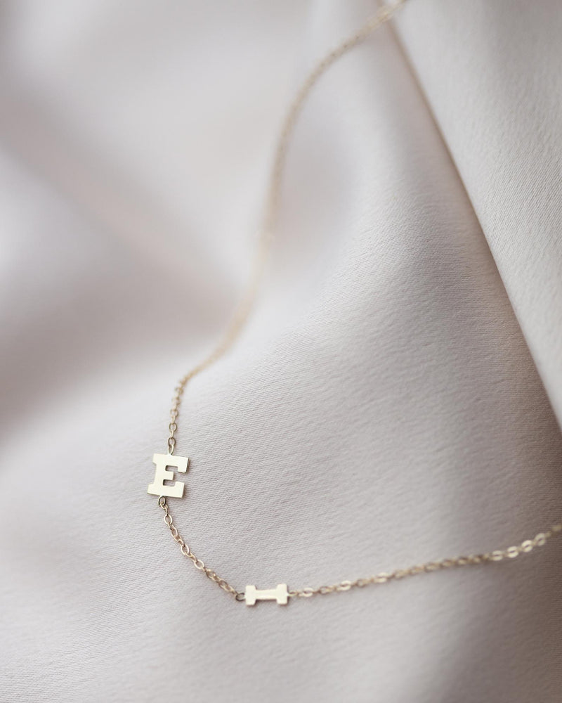 14k Gold Block Font Initial Letter Necklace