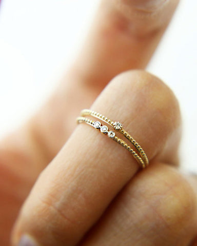 Two Tone Hearts Ring
