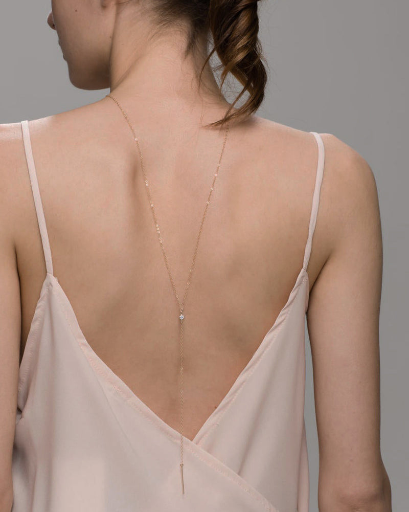Single CZ Back Necklace