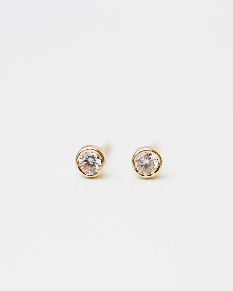 14K Solitaire Stud Earrings