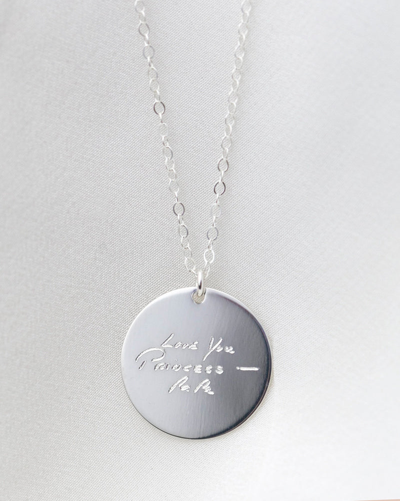 Handwriting Disc Necklace