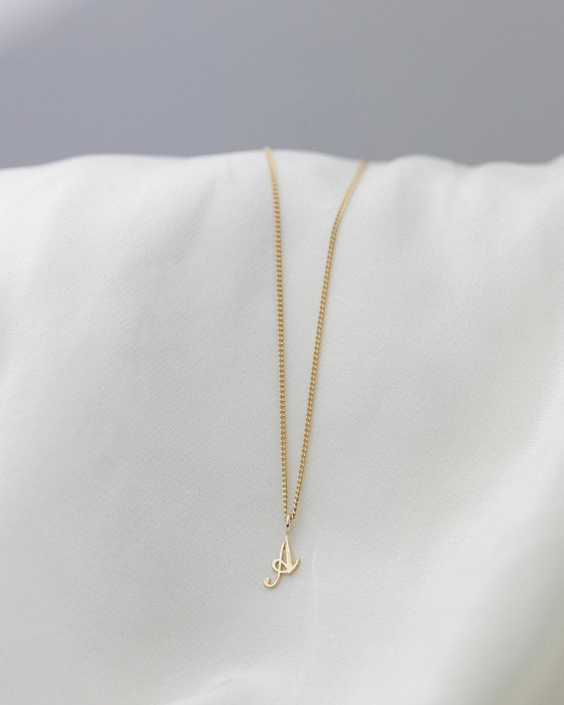 14k Cursive Letter Necklace