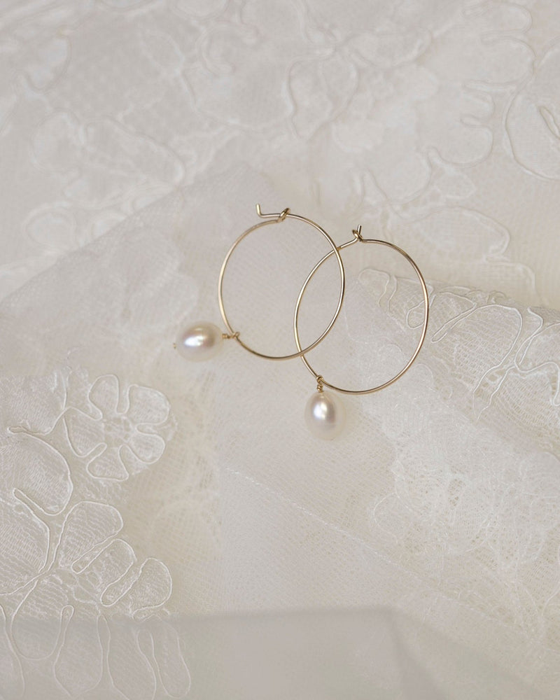 Freshwater Pearl Wire Hoop Earrings