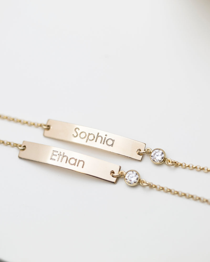 CZ Name Plate Bracelet with Custom Engraving