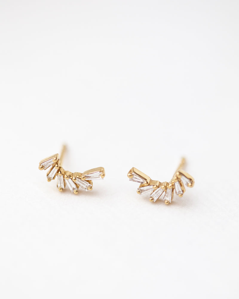 Tapered Baguette Diamond Step Earrings