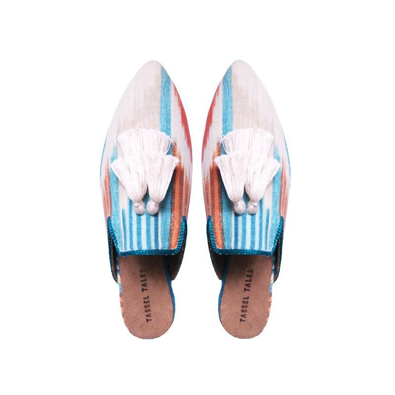 Shoes - Slippers - Blue White Ikat