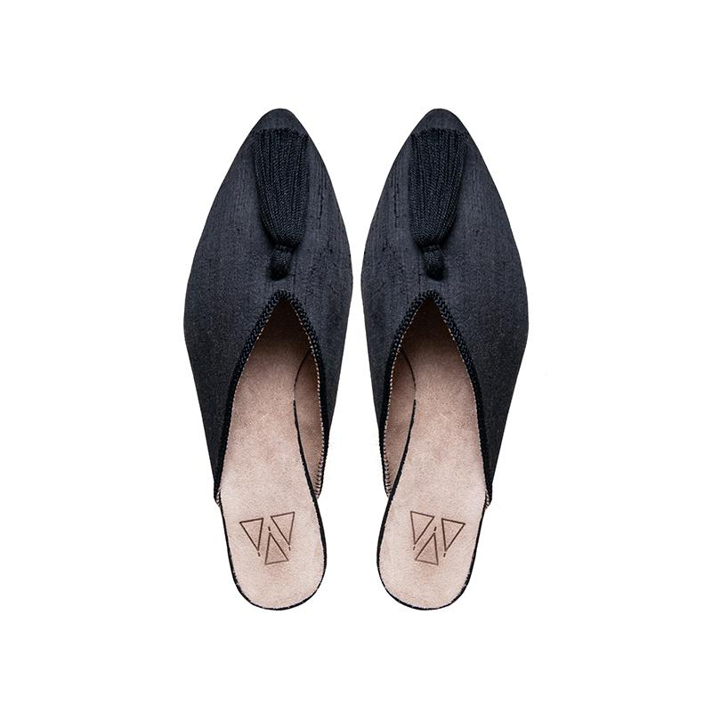 Shoes - Mules - Black Ethical Raw Silk