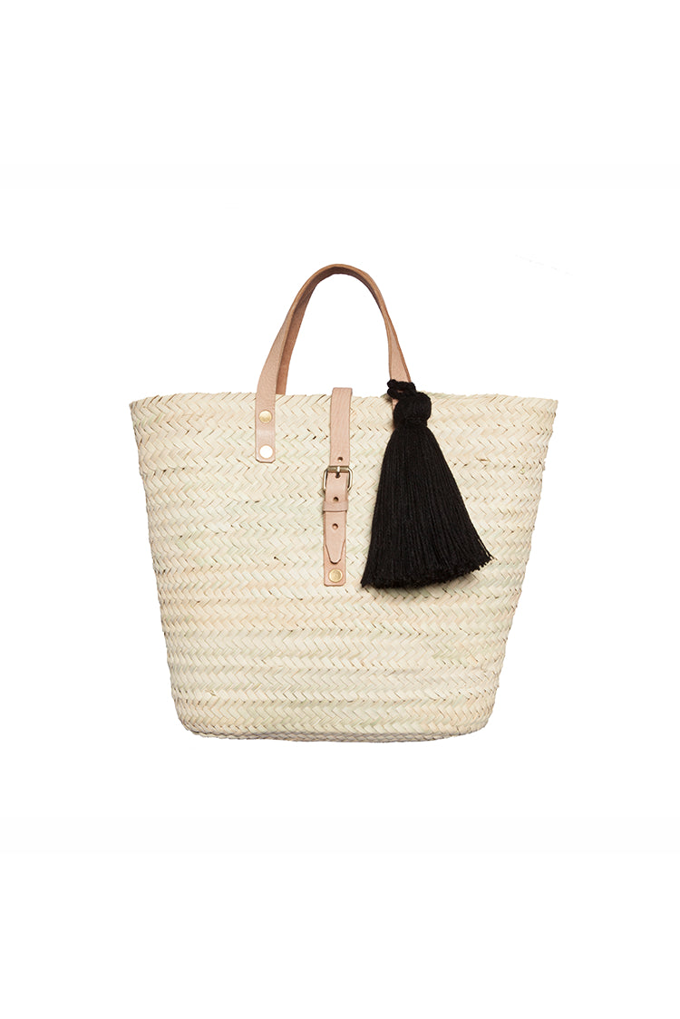 Bag - Basket With Black Wool Tassel