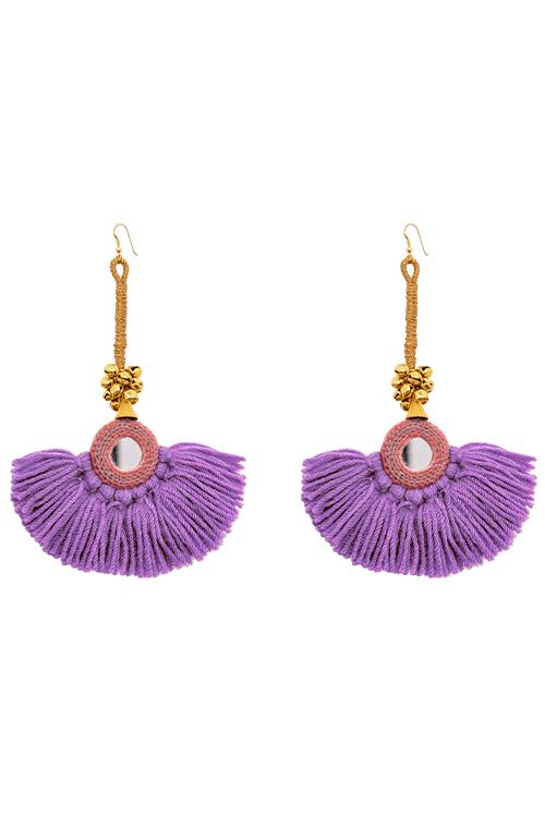Bag - Diya Earrings - Purple/Coral