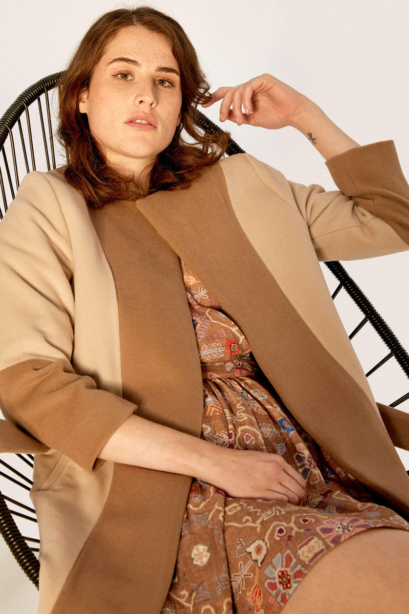 Coat - Wool Coat - Beige Sandy