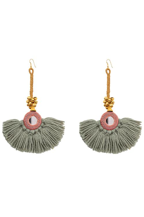 Earrings - Diya Earrings - Grey/Coral