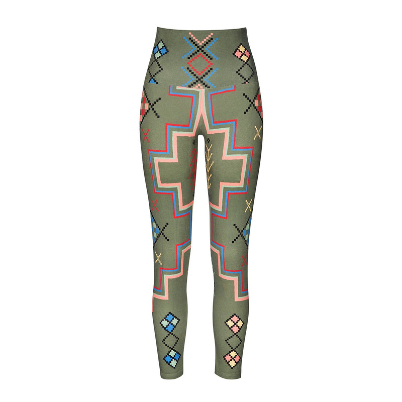 Leggings - High Waist Leggings Organic Cotton - Khaki