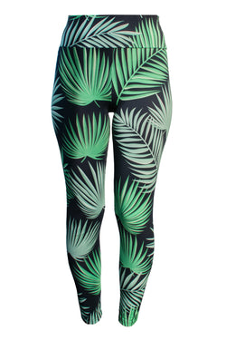 Leggings - High Waist Leggings Organic Cotton - Leaf
