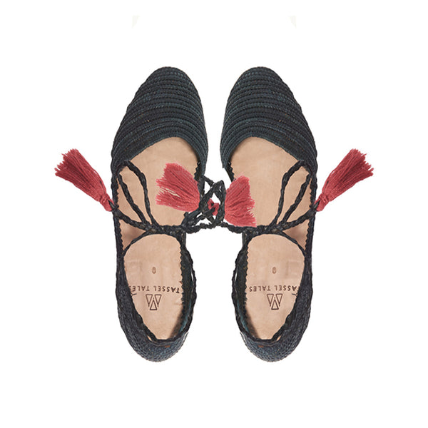 Shoes - Sandals - Black Raffia