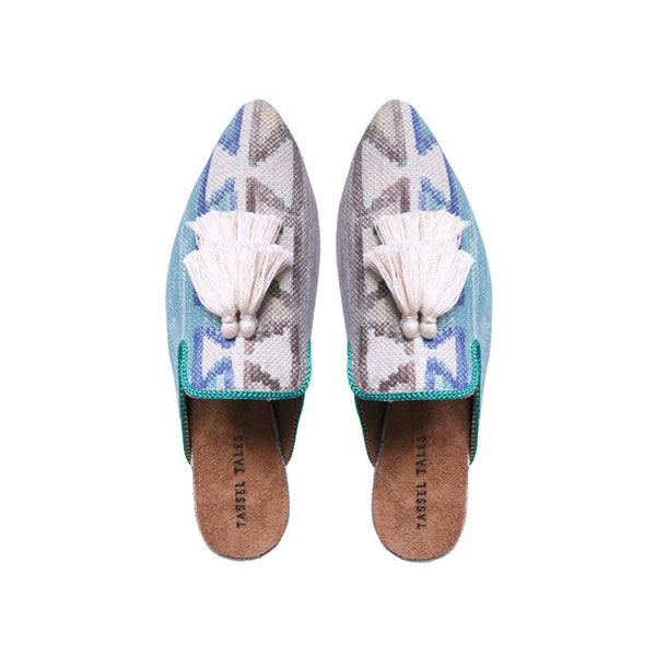 Shoes - Slippers - Blue Grey Ethno