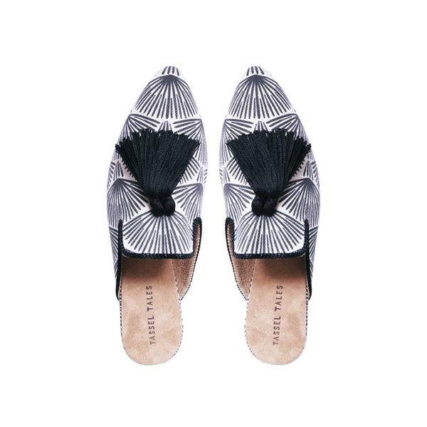 Shoes - Slippers - Black White Feather