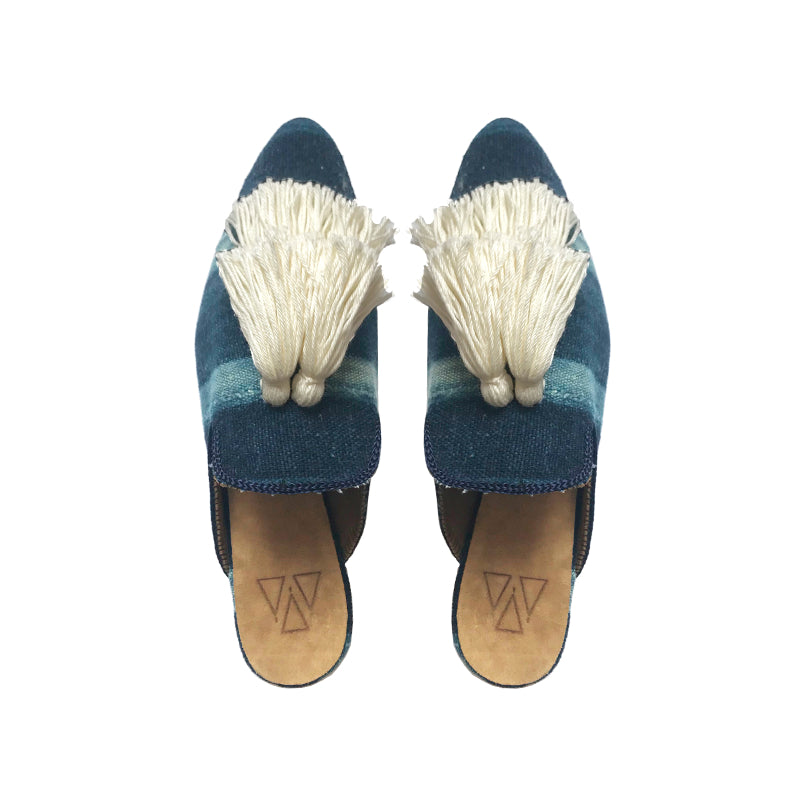 Shoes - Slippers - Blue Stripes Batik Two Tassels