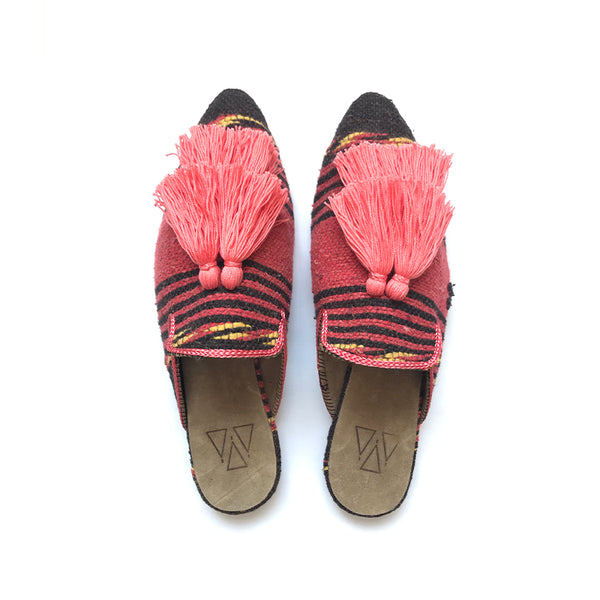 Shoes - Slippers - Coral Stripe Two Tassels