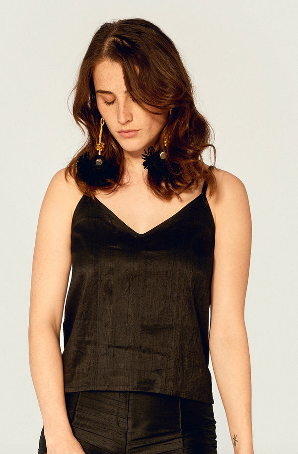 Top - Camisole Top Ethical Raw Silk - Black
