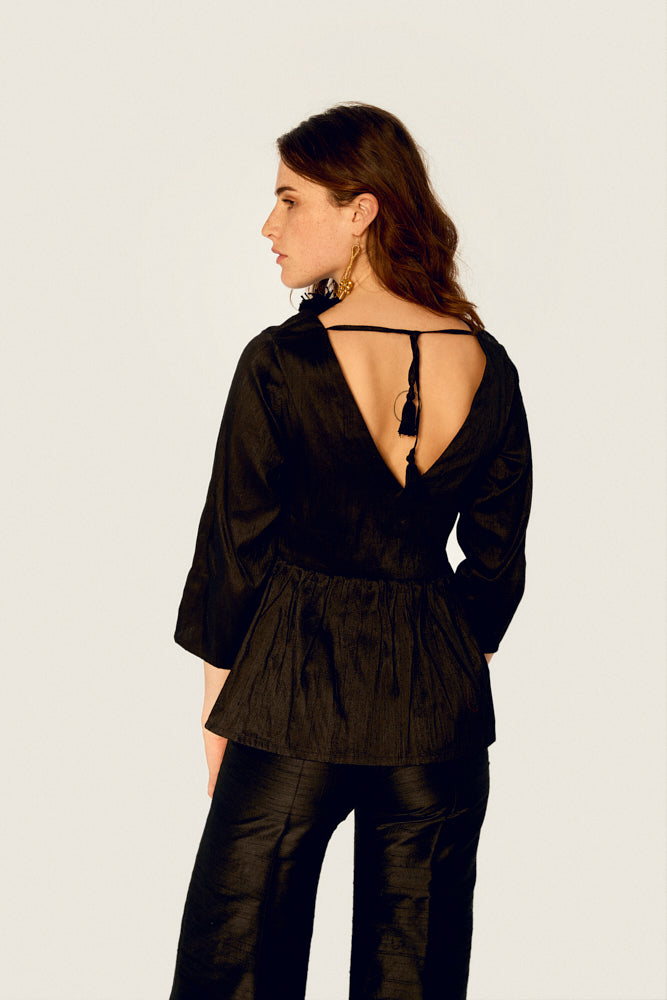 Top - Top Ethical Raw Silk - Black