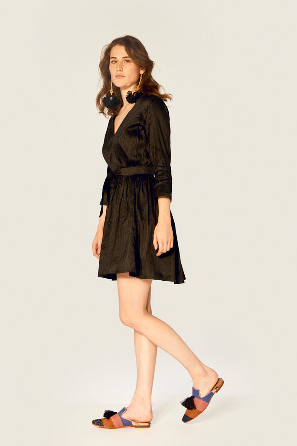 Top - Wrap Dress Ethical Raw Silk - Black