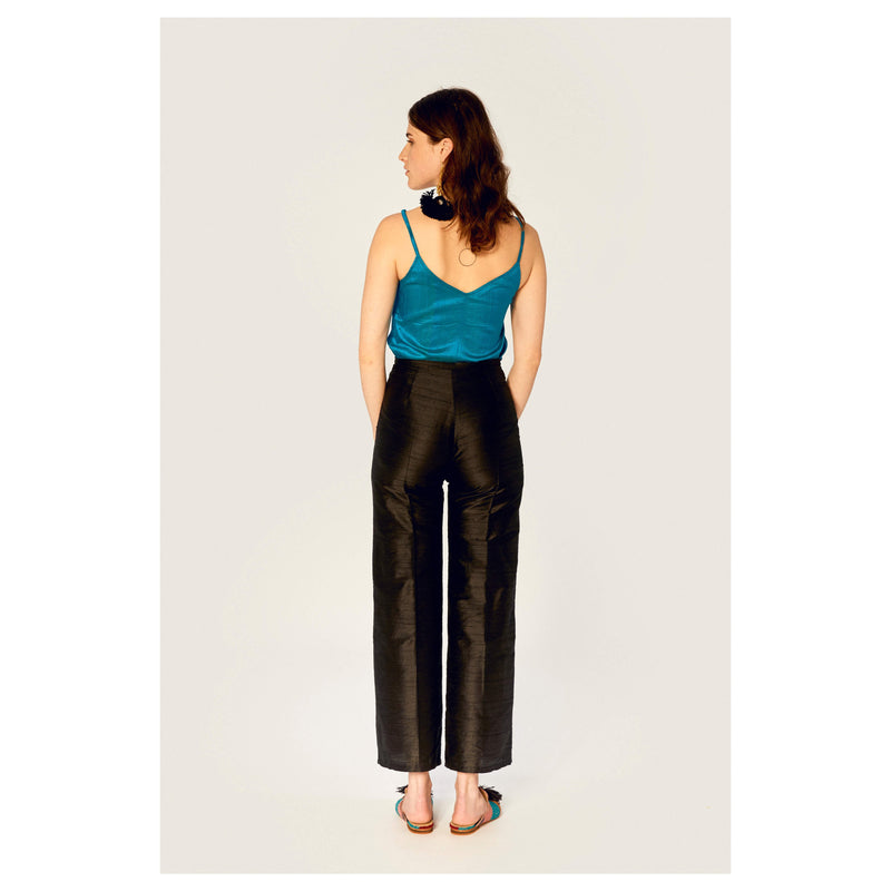Trousers - Camisole Top Ethical Raw Silk - Turquoise