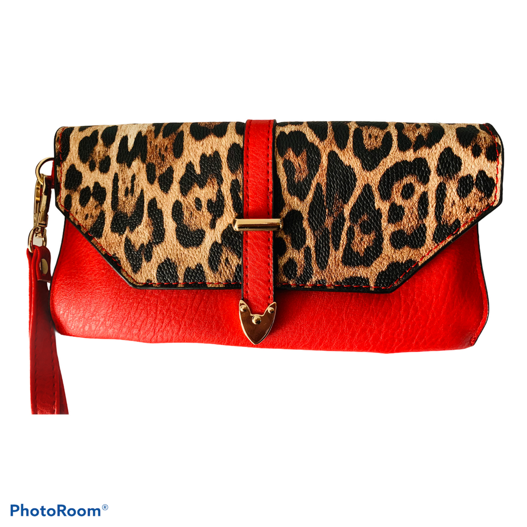 Red Cheetah Clutch