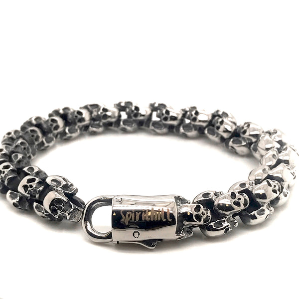 12MM Men's Stainless steel Skull Bracelet