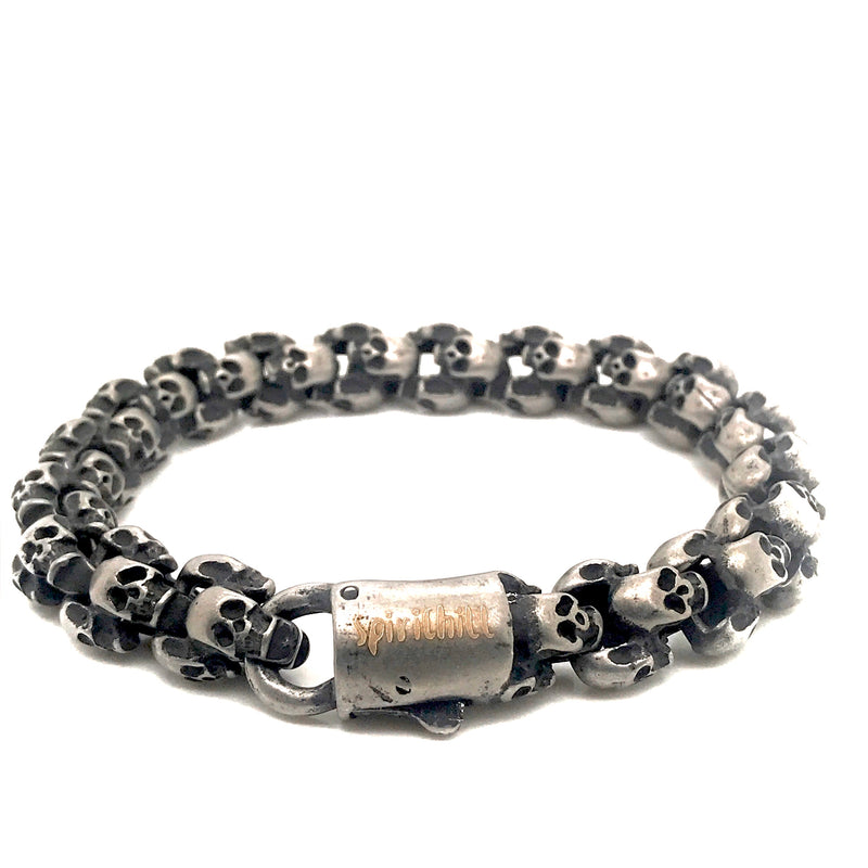 12MM Men's Gunmetal Stainless steel Skull Bracelet