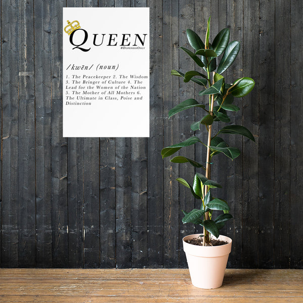 Queen Definition Premium White Print