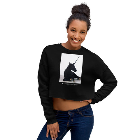 Black Unicorn Crop Sweatshirt