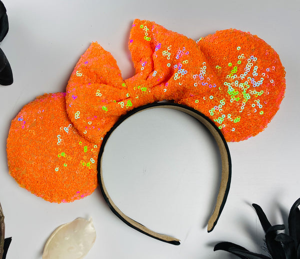 Holographic Orange Sequin Minnie Ears
