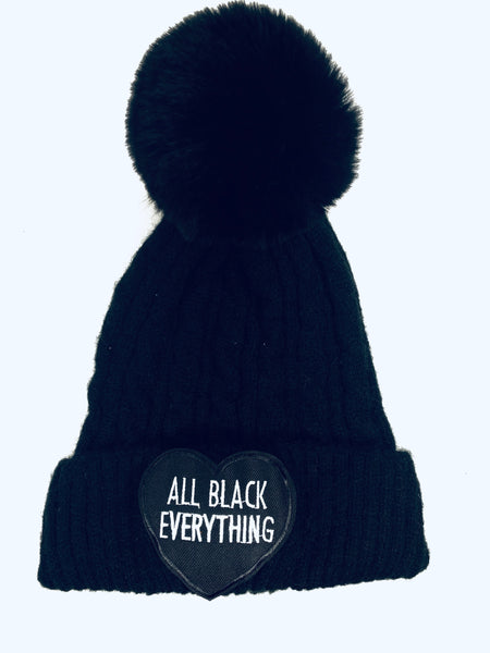 All black beanie single pom pom